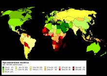 cancer du col de l'utérus répertorié dans le monde entier